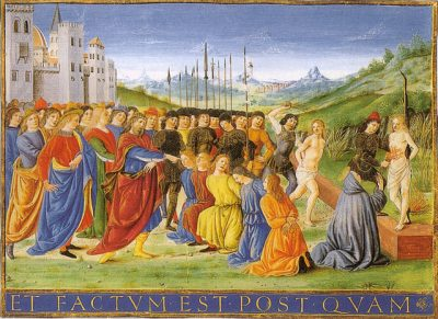 Painting of the martyrdom of the 7 Maccabees