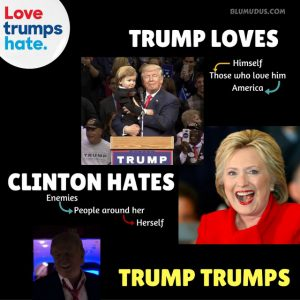 Love Trumps Hate: Trump Loves, Clinton Hates, Trump Trumps