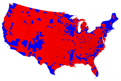 University of Michigan map of the USA highlighting how in most of the counties Trump won
