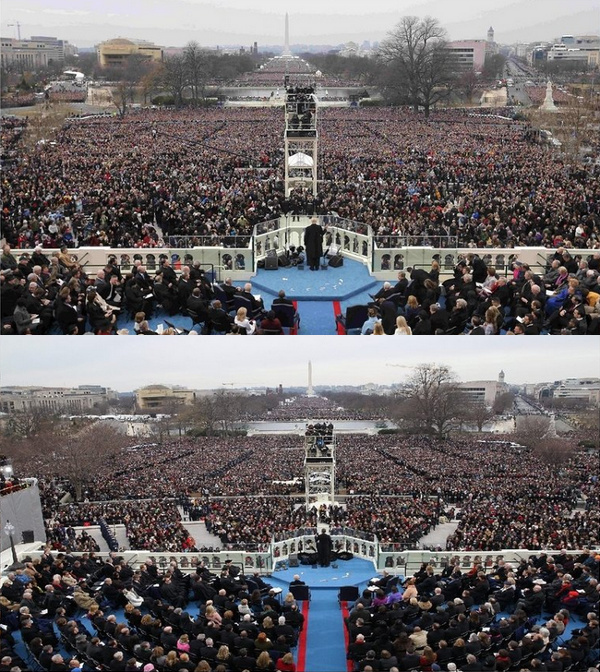 Crowd photos from Trump's and Obama's inauguration speech