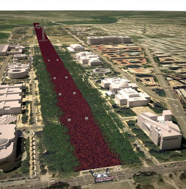 Digital simulation of 1 million people occupying the Washington DC Mall