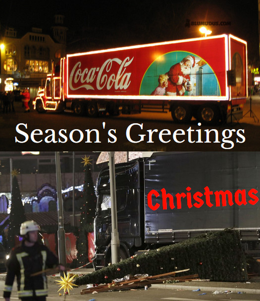 2 trucks: plastic and lights, red-white Cola Xmas marquee; the black truck of the Berlin Xmas Market terror attack