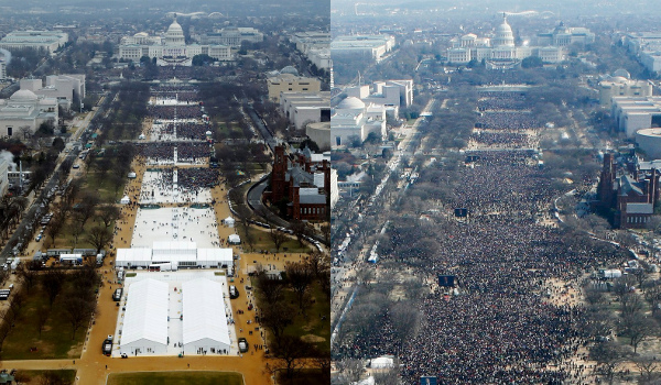 Obama 2009 vs. Trump 2017 crowd sizes