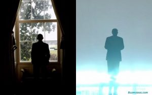 Barack Obama looking out of the window at the White House; the shiny figure of Donald Trump emerging