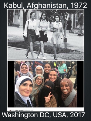 Miniskirts in Kabul 1972, veiled women in Washington DC 2017