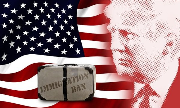 US Flag, Trump and the suitcase