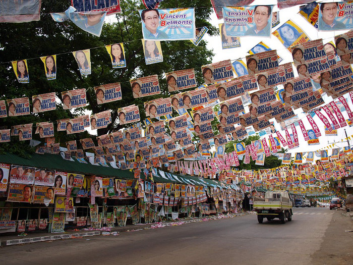 Philippines, Quezon City. Electoral advertising in the streets