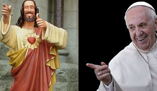 Nice Guy Jesus statue resembling the Pope Francis image used to promote his message prioritizing youngsters as agents of change