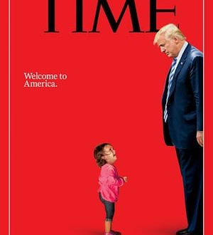 Time cover, Donald Trump looking down on crying child (fair use: critique)